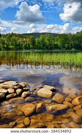 Ecological Norway, in the foreground clear water in the river - stock photo