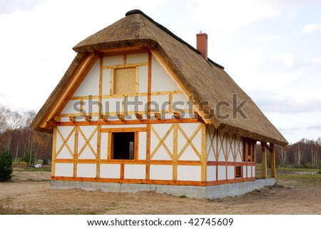 Ecological rural wooden house with cane roof - stock photo