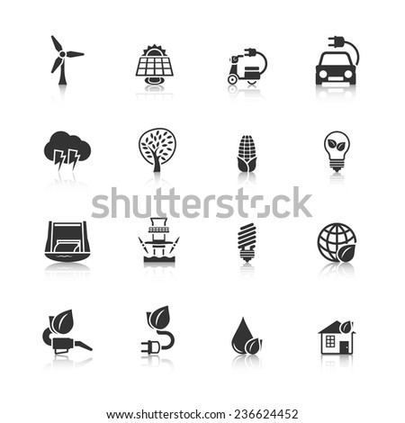 Ecologically clean planet and energy saving solutions black icons set with dam windmill abstract isolated  illustration - stock photo