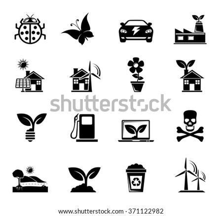 Ecology and Nature Icons - stock photo