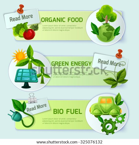 Ecology banner horizontal set with organic food green energy and bio fuel cartoon elements isolated  illustration