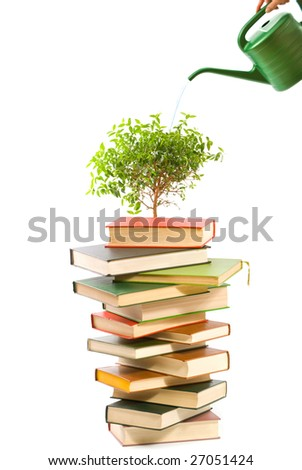 Ecology concept. Books and watering pot isolated on white background - stock photo