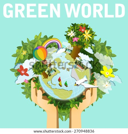 ecology concept flat 3d isometric infographic with hands holding beautiful earth - stock photo