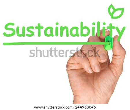 Ecology concept - Hand with Green Pen Drawing Sustainability - stock photo