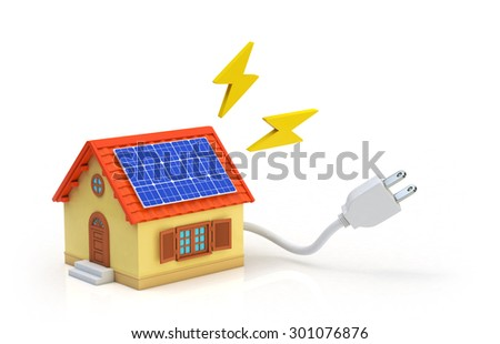 Ecology concept House has installed solar panels - stock photo