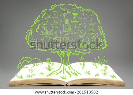 Ecology concept icons,drawn on top of empty book,grouped inside green tree. - stock photo