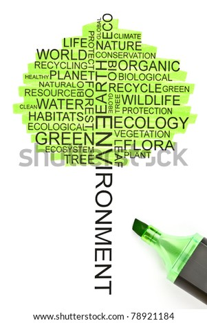 Ecology concept made from related words in the shape of a tree - stock photo