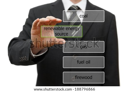 ecology concept with choosing renewable energy source - stock photo