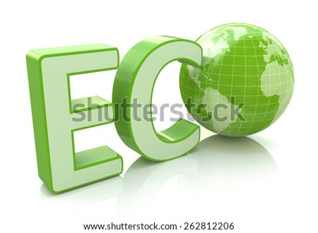 Ecology conservation, environment protection and nature saving business concept: 3D render illustration of green eco word with Earth globe map isolated on white background with reflection effect - stock photo