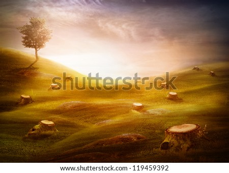 Ecology & environment design - Forest destruction. Environment concept with cut trees in the meadow with one left tree on the hill. - stock photo