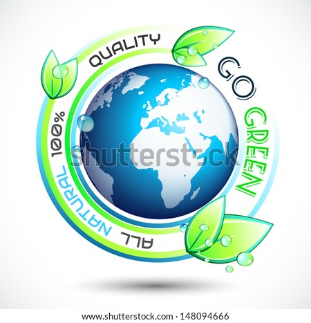 Ecology Green conceptual background with green related slogan, circles and stunning wet leaves. Ideal for environmental eco related posters. - stock photo