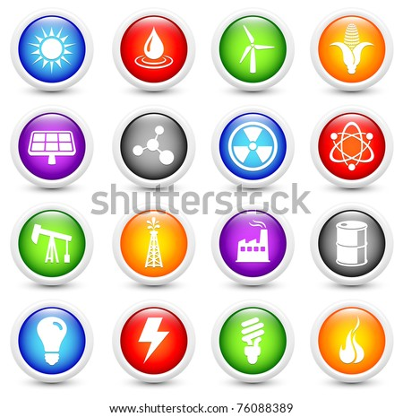 Ecology Icon on Reflective Button Collection Original Illustration - stock photo