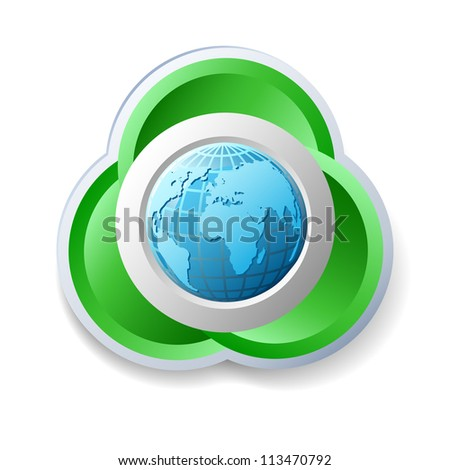 Ecology icon on the white background, raster version