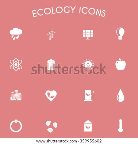 Ecology Icons Nature Symbols. Green energy. Forms and types of renewable energy source. Raster digital illustration. - stock photo