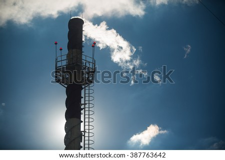 Ecology pipe emissions - stock photo