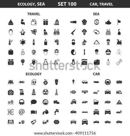 Ecology, sea set 100 black simple icons. Ocean, car icon design for web and mobile device.