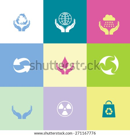 Ecology set. Flat color raster icons. - stock photo