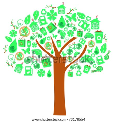 ecology sign concept tree - stock photo