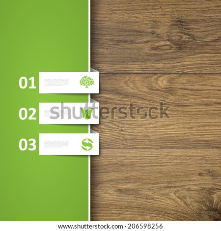 Ecology signs on wooden background - stock photo