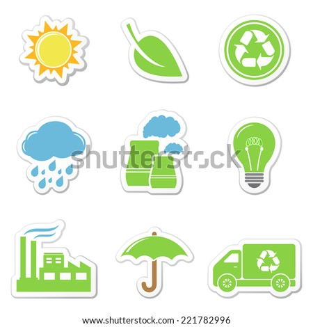 Ecology stickers - stock photo