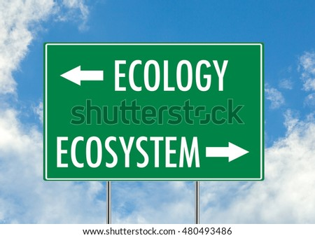 Ecology vs Ecosystem green road sign over blue sky background. Concept road sign collection.