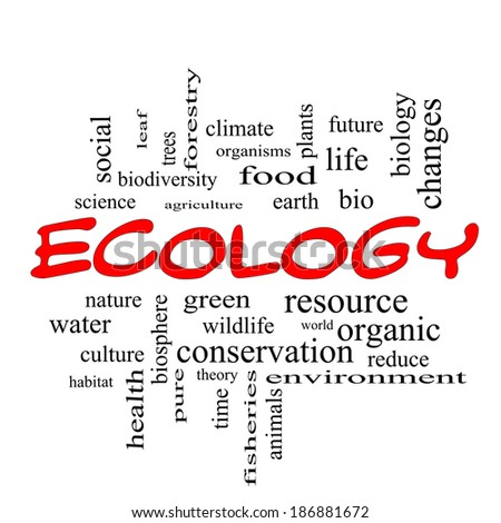 Ecology Word Cloud Concept in red caps with great terms such as green, resource, organic and more.