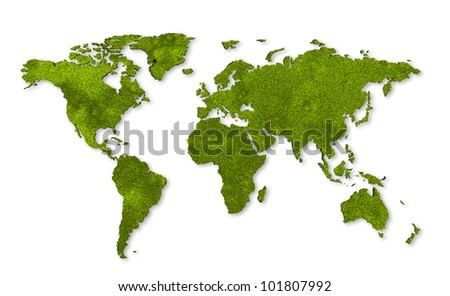 ecology world map, grass design - stock photo