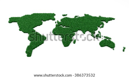Ecology world map on white background