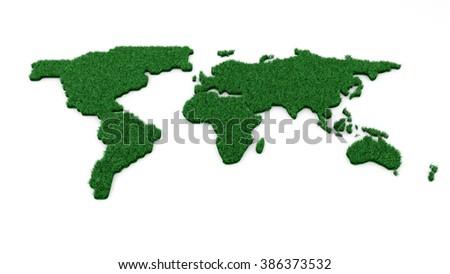 Ecology world map on white background - stock photo
