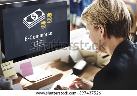 Ecommerce Market Transaction Online Concept - stock photo
