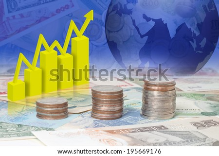 Economic and financial-related businesses around the world. - stock photo