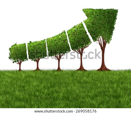 Economic graph chart and eco or ecological development concept as a group of trees coming together in the shape of an arrow pointing upwards as a success metaphor for profits and growth. - stock photo
