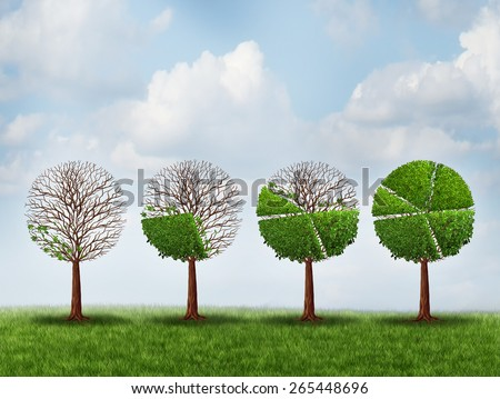 Economic prosperity financial concept as a group of green trees shaped as growing finance pie chart as a metaphor for gradual gains in company stock or competitive wealth success. - stock photo