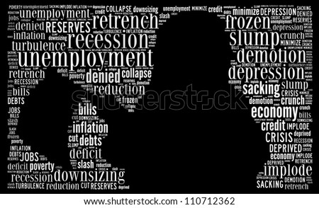 Economic recession: text collage - stock photo