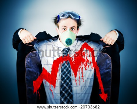 Economical crisis concept. Crazy businessman in protective mask with bloody graph. - stock photo