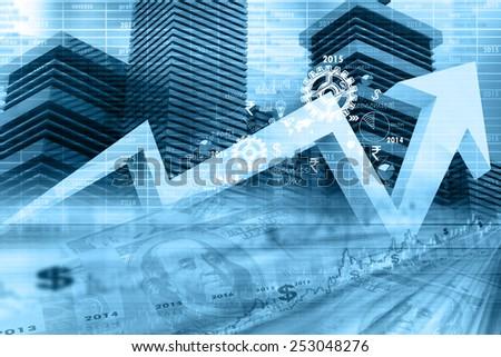 Economical stock market graph - stock photo