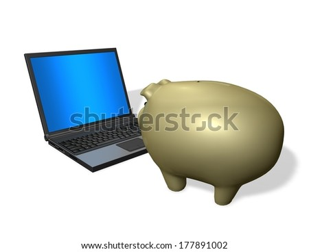 economy, banking and finance learning concept with gold piggy bank and computer  isolated - stock photo