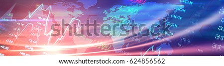 Economy, business, financial banner. Economy collage with world map at background of stock market charts and data. Header banner background for global economy, finance, business themes and news.