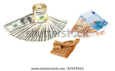 Economy crisis euro currency concept photo with bread crust on white - stock photo