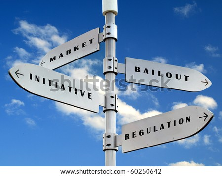 economy directions sign  on the  blue sky - stock photo
