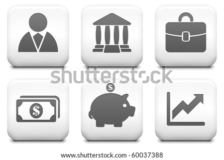 Economy Icons on Square Black and White Button Collection Original Illustration - stock photo