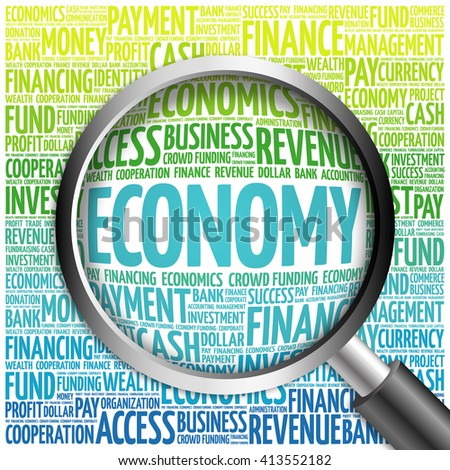 ECONOMY word cloud with magnifying glass, business concept - stock photo