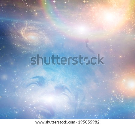 Ecstatic face with heavens - stock photo