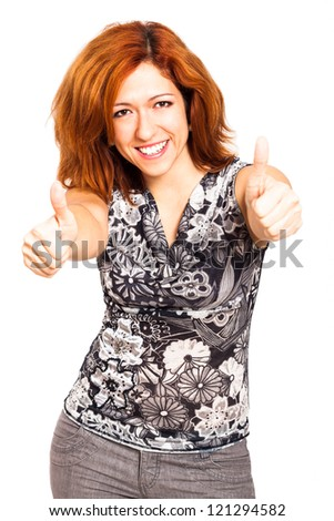 Ecstatic happy woman gesturing thumbs up, isolated on white background. - stock photo