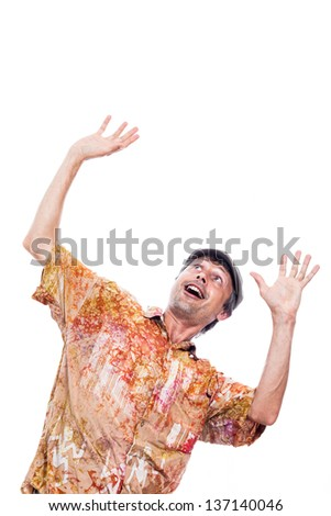 Ecstatic shocked man looking up and gesturing, isolated on white background - stock photo