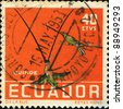 ECUADOR - CIRCA 1958: A stamp printed in Ecuador shows Sword-billed Hummingbird - Ensifera ensifera, circa 1958 - stock photo
