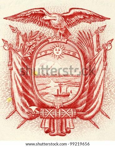 ECUADOR- CIRCA 1988: Ecuadorian Arms on 5 Sucres 1988 Banknote from Ecuador. - stock photo