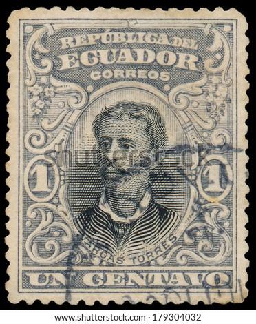 ECUADOR, CIRCA 1899 - Post stamp printed in Ecuador shows Luis Vargas Torres, circa 1899 - stock photo