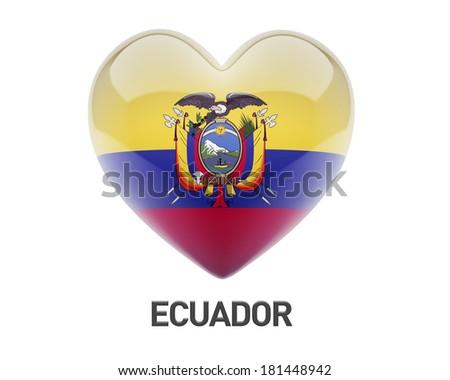 Ecuador Flag Heart Icon isolated on white background - stock photo
