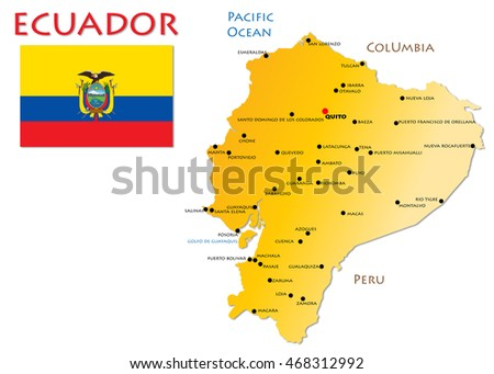 Ecuador, Map and Flag, isolated with copy space on white